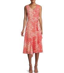 lafayette 148 new york women's telson spotted silk dress - ultra pink - size 10