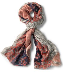 mixed floral printed oblong scarf