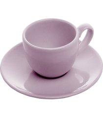 conjunto 6 xícaras cerâmica para chá com pires alanya plum 275ml