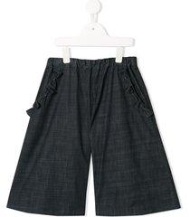 familiar bow-embellished chambray shorts - grey