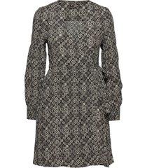 bohemian wrap dress knälång klänning grå superdry