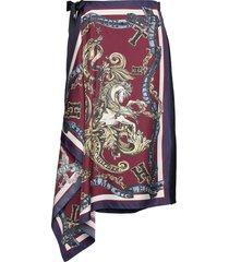 hcw foulard wrap ski knälång kjol röd hilfiger collection