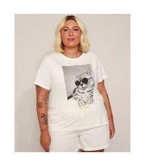 """camiseta feminina plus size lazy sunday"""" manga curta off white"""""""
