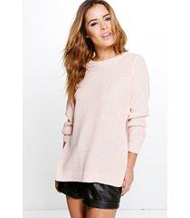 petite side split tunic sweater, nude