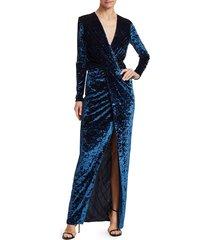 galvan women's vera stretch velvet gown - sapphire - size 34 (2)