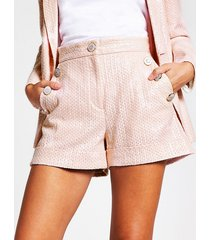 river island womens pink sequin button front shorts
