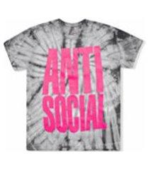 anti social social club camiseta heatwave tie-dye - preto