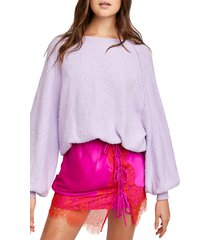 women's free people found my friend boucle pullover, size small - purple