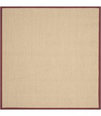safavieh natural fiber maize and burgundy 6' x 6' sisal weave square rug