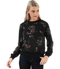 only womens loreen printed long sleeve top size 12 in black