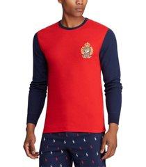 polo ralph lauren men's logo crest waffle pajama shirt, created for macy's