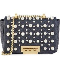 zac zac posen women's mini earthette faux pearl studded leather shoulder bag - parisian blue