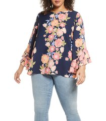 plus size women's single thread ruffle sleeve printed blouse