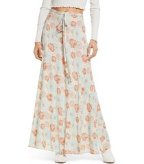 free people that's a wrap print maxi skirt, size x-large in sky combo at nordstrom