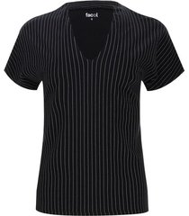 camiseta mujer cuello smoking rayas color negro, talla 10