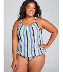 lane bryant women's blouson swim tankini top with no-wire bra 28 pastel stripes