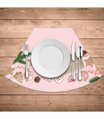 jogo americano para mesa redonda wevans natal rosa kit com 6 pçs