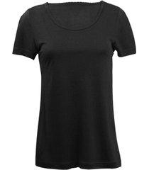 zijden-shirt met korte mouwen uit organic silk, zwart 44/46