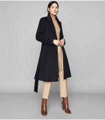 reiss hattie - wool blend longline coat in navy, womens, size 10