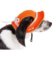 pet life 'sea spot sun' uv protectant adjustable mesh brimmed dog hat cap