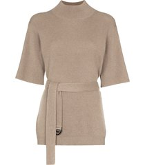 brunello cucinelli belted ribbed knit jumper - brown