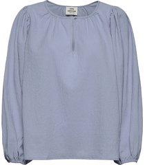 recy seersucker bellamy blouse lange mouwen blauw mads nørgaard