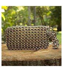 soda pop-top wristlet bag, 'copper bronze eco chic' (brazil)