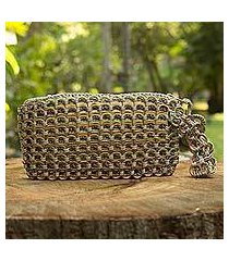 soda pop-top wristlet bag, 'copper bronze eco chic' (brazil)