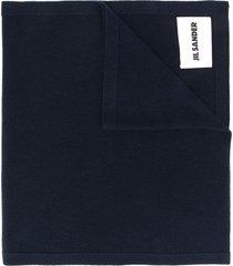 jil sander logo patch scarf - black