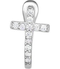 diamond accent cross single hoop earring in 14k white gold