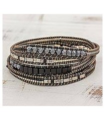 glass beaded wrap bracelet, 'stellar serenade' (guatemala)