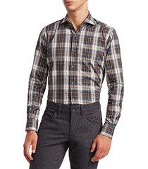 saks fifth avenue men's collection plaid shirt - brown multi - size s