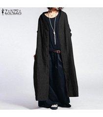 zanzea más mujeres del tamaño botones de down casual chaqueta de la capa llanura abierta frente cardigan tops -negro