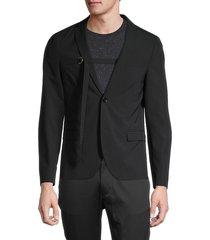 diesel men's j-hook regular-fit d-ring belted jacket - black - size 54