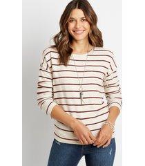 maurices womens stripe straight hem pullover beige