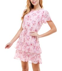 city studios juniors' floral-print ruffled tiered dress