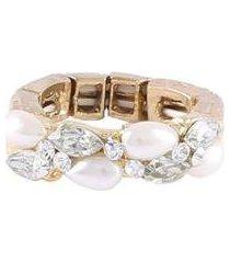anel armazem rr bijoux cristais pérola gota dourado - feminino