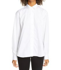 women's toteme capri oversize high/low cotton poplin shirt