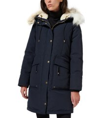 sam edelman faux-fur-trim hooded puffer coat