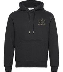 gold logo hoodie hoodie trui zwart calvin klein