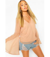 dobby chiffon flared sleeve blouse, blush