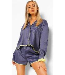 pyjama set met shorts en contrasterende biezen, navy