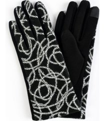 women's embroidered pattern jersey touchscreen glove