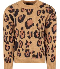 mini rodini beige girl sweater with animalier print