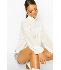 high neck ruffle detail smock top, ivory