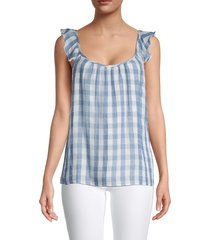 supply & demand women's jackie checked squareneck top - chambray - size m
