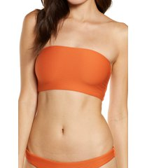 women's seafolly essential tube bikini top, size 8 us - orange