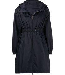 moncler waist-strap hooded coat - blue