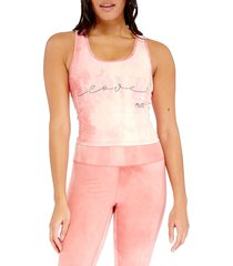electric yoga women's love tie-dyed tank top - pink - size l