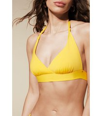 calzedonia indonesia slightly padded triangle bikini top woman yellow size 6
